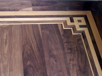 Walnut Hardwood Floor With Custom Oak Inlay